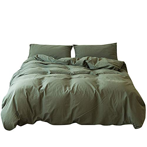Washed Cotton Duvet Cover Dark Green Reversible Solid Color Bedding Set Modern Simple Quilt Cover with Zipper King Bed Cover