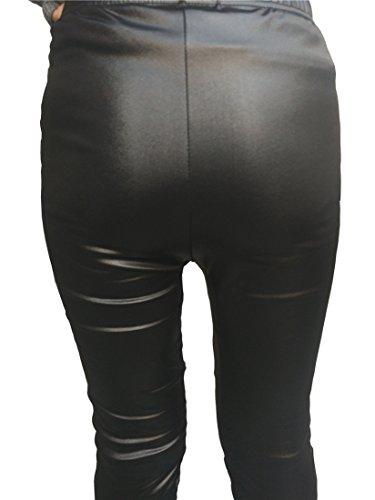 CHISEN Ladies Faux Leather Slim Footless Leggings Pants (XL, Black) Petite Black Leather