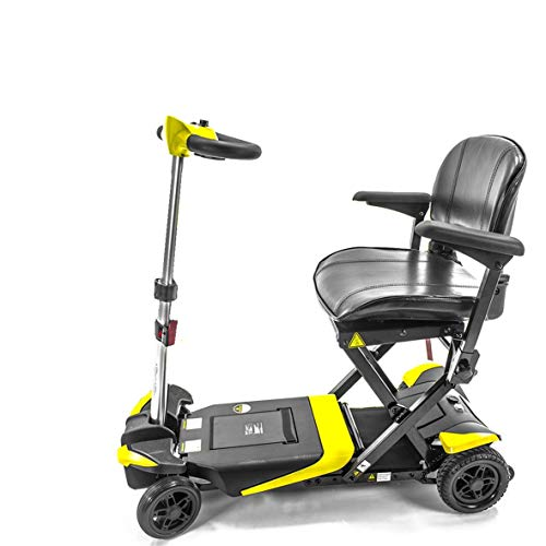 Transformer Automatic Folding Travel Scooter for Adults and Seniors, Yellow, Lightweight Lithium Battery, Airline Approved