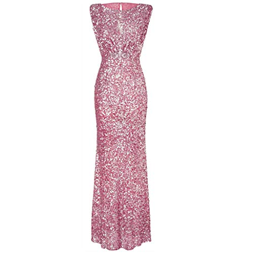 Corriee Ladies Sequin Long Dresses Womens Formal Prom Party Ball Gown Women's Sexy Sleeveless Backless Dress Pink