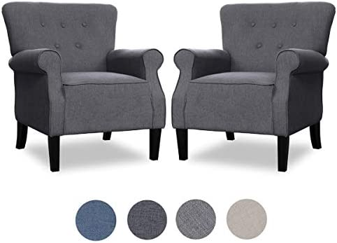Top Space Accent Chair Sofa Mid Century Upholstered Roy Arm Single Sofa Modern Comfy Furniture for Living Room,Bedroom,Club,Office Large,Grey