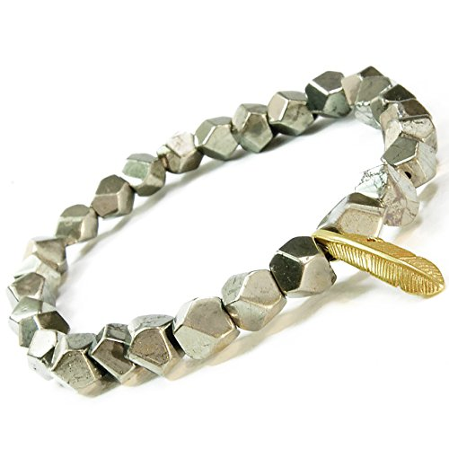 ONE ION Freedom's Pyrite Bracelet - 6mm Premium Pyrite and Brass Feather Pendant (7 Inches)
