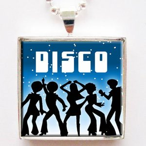 [70s Disco Dance Glass Tile Pendant Necklace with Chain] (70s Jewellery Disco)
