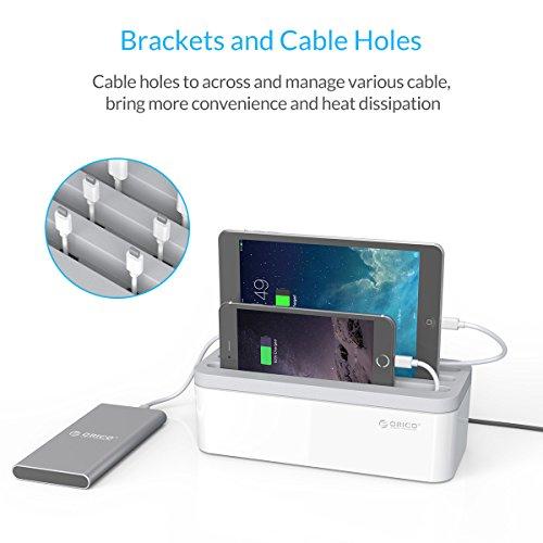 ORICO - Caja Cables,Caja Organizadora para Almacenar Regletas Enchufes,Adaptadores de Cables CA,Líneas de Cargador,Cables USB White