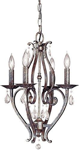 Chandelier Four Bronze Light Mini (Feiss F1800/4PBR Mademoiselle Crystal Mini Candle Chandelier Lighting, Bronze, 4-Light, 240watts)
