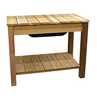 Phat Tommy Patio & Garden Cedar Planter & Potting Bench – for Outdoor Flowers & Plants, Made in The USA