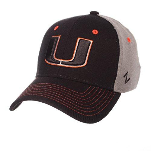 NCAA Miami Hurricanes Men's Duo Hat, Medium/Large, Black/Gray - Zephyr Hurricane
