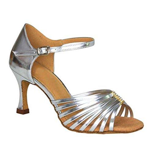 Tda Donna Peep Toe Cristalli Archi Pu Pelle Salsa Sala Da Ballo Latino Moderno Scarpe Da Sposa Danza Argento