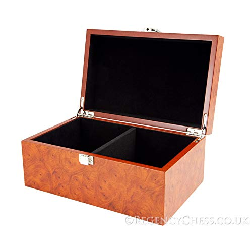 Regencychess Root Wood Burl Chess Piece Case with Hinged Lid Large ()