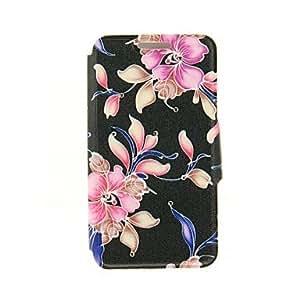 HC- kinston patrón pasta de diamante flor artística fondo negro cuero de la PU caso de cuerpo completo con soporte para el iphone 6 más