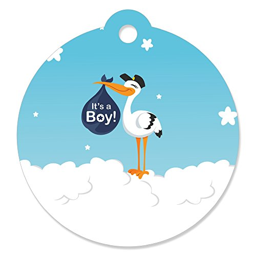 Boy Special Delivery - Blue It's A Boy Stork Baby Shower Favor Gift Tags (Set of 20) ()