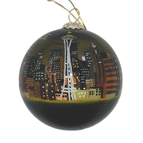 Hand Painted Glass Christmas Ornament - Seattle, Washington Skyline Night (Ornament Studio Christmas Decor)