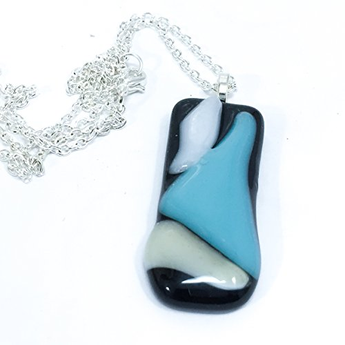 Blue and Black Abstract Fused Glass (Black Fused Glass Pendant)