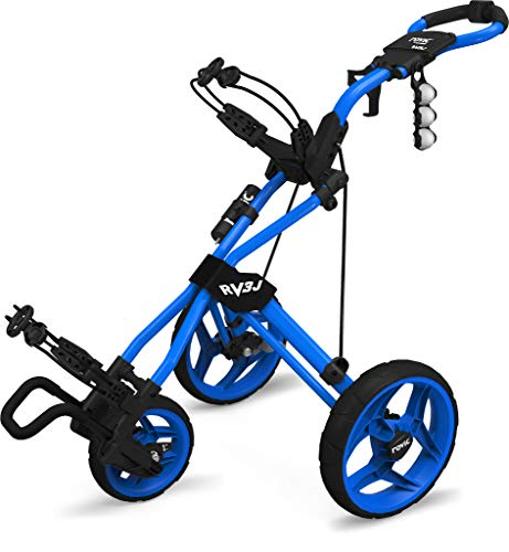 Rovic Model RV3J Junior | Youth 3-Wheel Golf Push Cart (Blue)