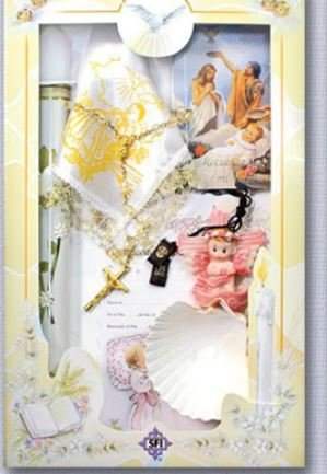 Boy's English Baptism Gift Set Includes, Gift Rosary, Decorative Candle, Baptism Shell, Handkerchief, Scapular