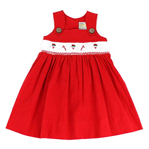 sissymini - Toddler Holiday Tinsel Hand Smocked Jumper Corduroy Dress in Red Santa Claus 2T