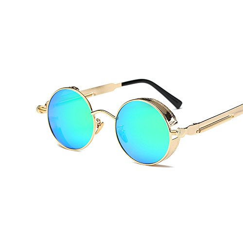 VeBrellen Men Gothic Hippie Retro Metal Round Circle Frame Cyber Goggles Polarized Steampunk Sunglasses (Gold Frame With Green Lens,C3, - Lv Sunglasses Womens