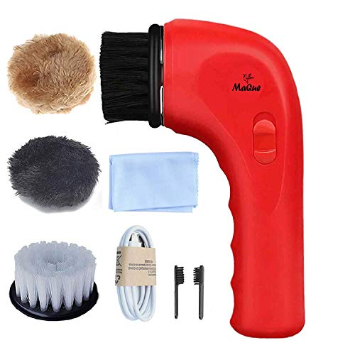 - Electric Shoe Polisher Machine, MaQue Mini Handheld Electric Shoe Brush Shoe Shine with USB Interface Charging Port, Shoe Shine Kits for Leather Care (Red)