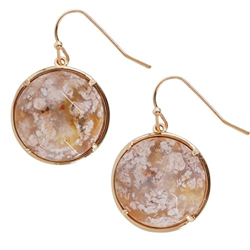 er Gemstone Dangles - Faceted Statement Hook Drop Earrings, Round Simulated Jasper, Brown, Tan, White, Cream, Black Spot, Neutral, Gold-Tone, by Humble Chic NY (Black Jasper Ring)