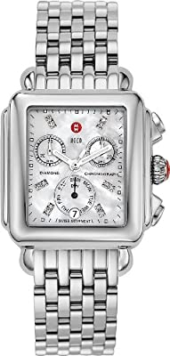 Michele Womens Deco Diamond Dial Stainless Steel Watch from Michele