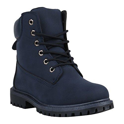 Stiefelparadies Bequeme Damen Stiefeletten Outdoor Worker Boots Flandell Dunkelblau Camargo