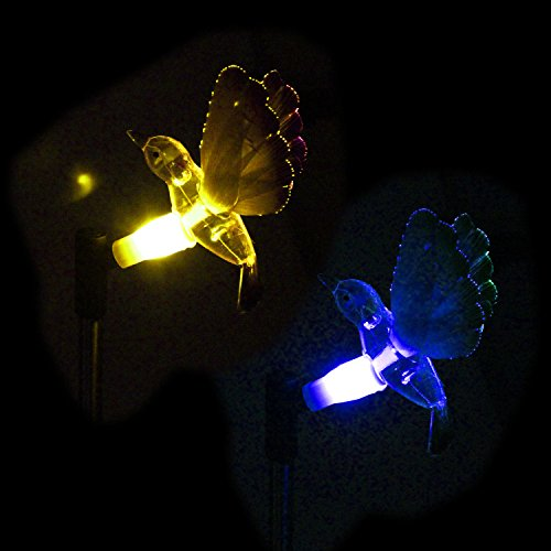 (CST Lighting Pack of 2 Solar Color Changing LED Light Lawn Garden Yard Stakes-Fiber Optic)