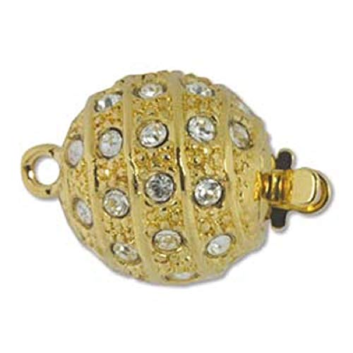 Elegant Elements, 23K Gold Plated 1-Strand Box Clasp with Swarovski Crystals, 12mm 1 Silverplate Swarovski Crystal