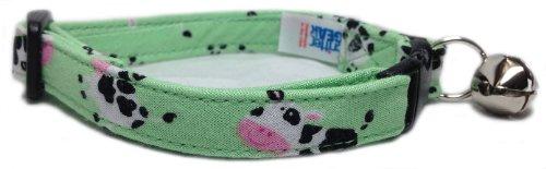 Breakaway Cat Collar in Green Mini Cows (U.S.A. Made)