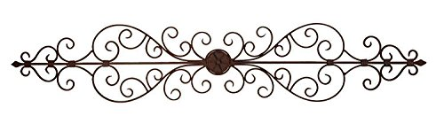43 Inch x 8 inch Metal Wall Plaque Scrolled Sculpture - Rust and Black Patina