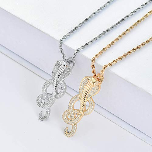 MKHDD Women Vintage Animal Snake Viper Cobra Pendants Necklace Jewelry Accessories Gift,Metallic