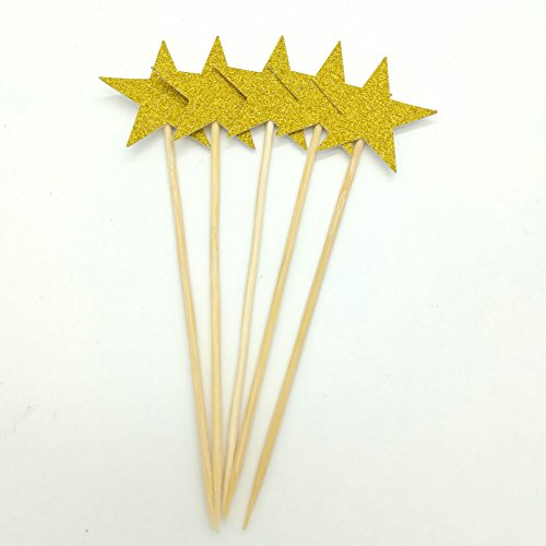 Paity 24pcs Glitter gold Cupcake Toppers Party Supplies Twinkle Little Star Party 1st Birthday Wedding New Years Eve Party