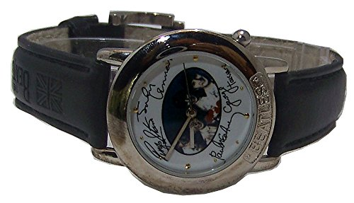 The Beatles Watch in Wooden Guitar case and Beatles signatures Black