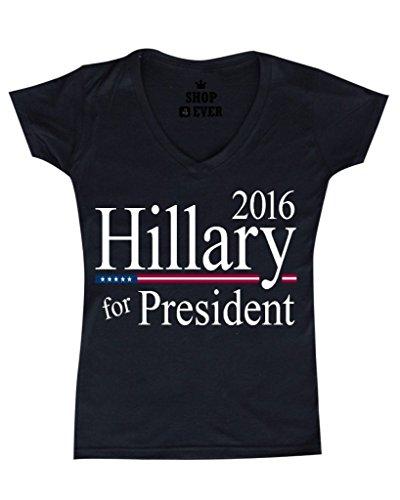 Shop4Ever® Hillary For President 2016 Women's V-Neck T-shirt Political Shirts SLIM FIT