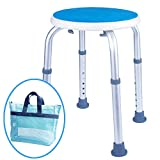 Medokare Round Shower Stool Seat - Padded Shower Seat for Seniors with Tote Bag, Shower Bench Bath Chair, Handicap Shower Stools for Adults (White Round Stool)