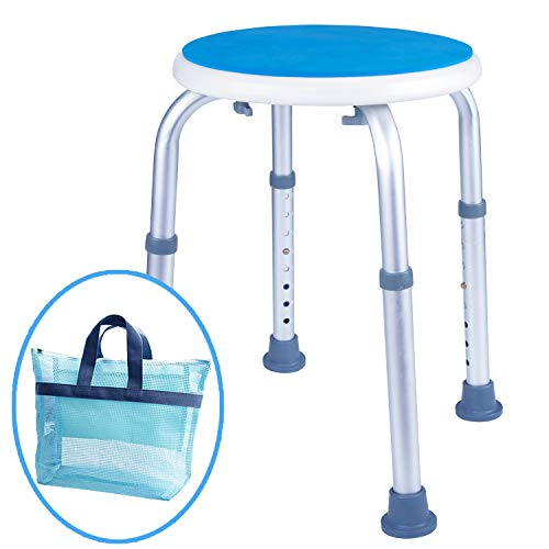 (Medokare Padded Round Shower Stool - Shower Seat for Seniors with Tote Bag, Shower Bench Bath Chair for Elderly, Handicap Tub Shower Seats for Adults (White Round Stool))