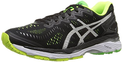 ASICS Men's Gel-Kayano 23 Running Shoe, Black/Silver/Safety Yellow, 10 M US