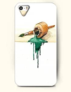 iPhone 5 5S Hard Case (iPhone 5C Excluded) **NEW** Case with Design Wood Cans And Writing Brush- ECO-Friendly...