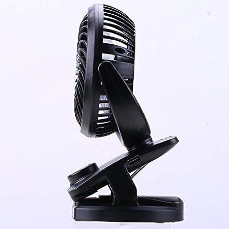 HJIAN Clip-on Stroller Fans Mini USB Desk Clip Fan Rechargeable 4400mA Battery Portable Cooling Fresh Air Fan Table Fan for Office Outdoor Camping Travel Car Gym Dysney Zoo Trip Black
