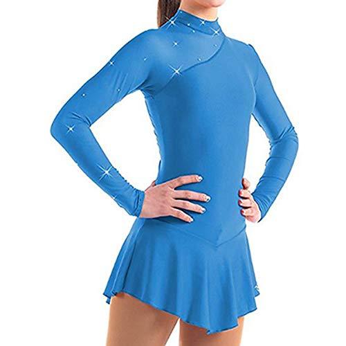 inhzoy Kids Girls Long Sleeve Splice Cutout Back Figure Ice Skating Roller Skating Ballet Dance Dress Tutu Skirted Blue 10