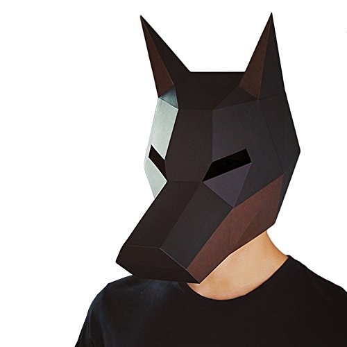 AesthLab Modern Aesthetics Animal Series Low-Poly Mask DIY Paper Art for Party Photography Decoration Black Doberman for Adult
