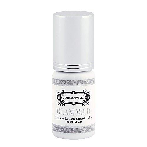 SENSITIVE Individual Eyelash Extension GLAM MILD Glue 5 ml / Semi Permanent Extension Black Adhesive Eyelash Bonding Supplies / Drying Time 7-8 Sec / Retention 2-3 Weeks / Latex Free (1 Bottle)