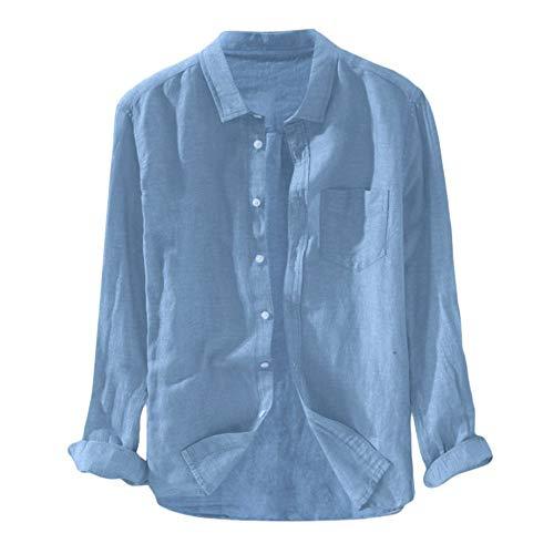 Heren Casual Lange Mouwen Overhemden,Casual Katoenen Linnen Overhemd Met Lange Mouwen Klassiek Eenkleurig Blauw Baggy…