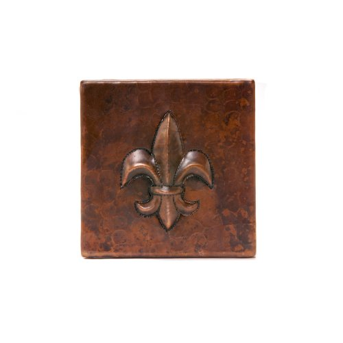 (Premier Copper Products T4DBF 4-Inch by 4-Inch Copper Fleur De Lis Tile, Oil Rubbed Bronze )