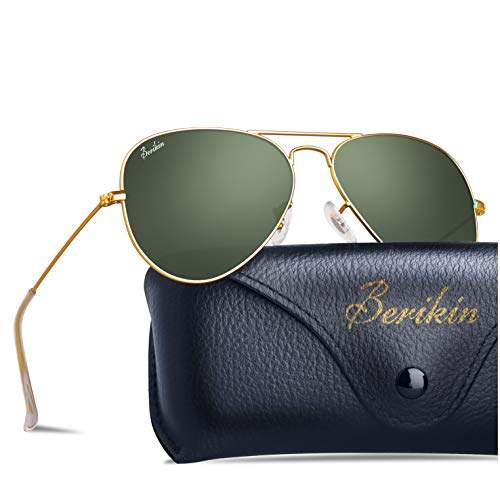 BERIKIN For Men Wowen Classic Aviator Style Sunglasses Green Glass Lenses Gold Metal Frame Non-polarized UV400 ()