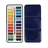 ULTNICE Watercolour Paint Tin Metal Box of Solid Watercolor Paint Set with Brush 24Color