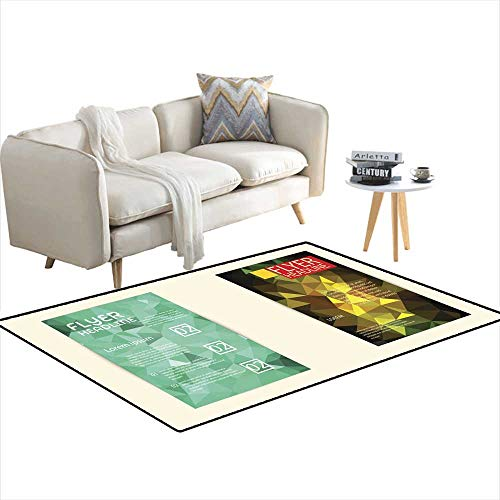- Anti Skid Rugs Modern brochure Cover and letterhead Template Low Polygon geomet 3'x9'