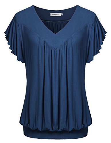 - Helloacc Womens Business Casual Shirts, Loose Fitted Ruffled Short Sleeves V Neck Plus Size Summer Comfy Tops Solid Color Blouses Blue