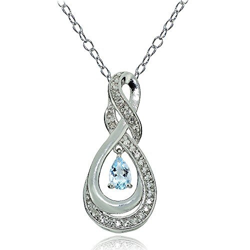 Sterling Silver Genuine Blue and White Topaz Infinity Twist Teardrop Necklace
