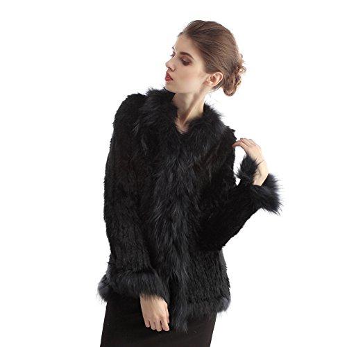 Bellerfur Real conejo de piel de abrigos de piel de mapache chalecos de cuello hecho punto chaquetas casuales Negro
