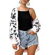 BTFBM Women Fashion Leopard Print Button Down Long Sleeve Soft Loose Knit Sweater Cardigan Coat F...